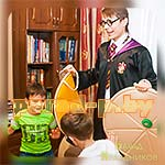 Дети выполняют задание аниматора Гарри Поттера